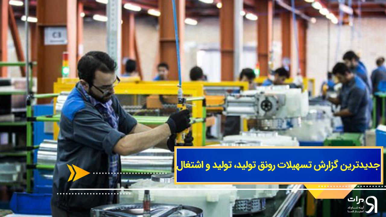 جدیدترین گزارش تسهیلات رونق تولید، تولید و اشتغال