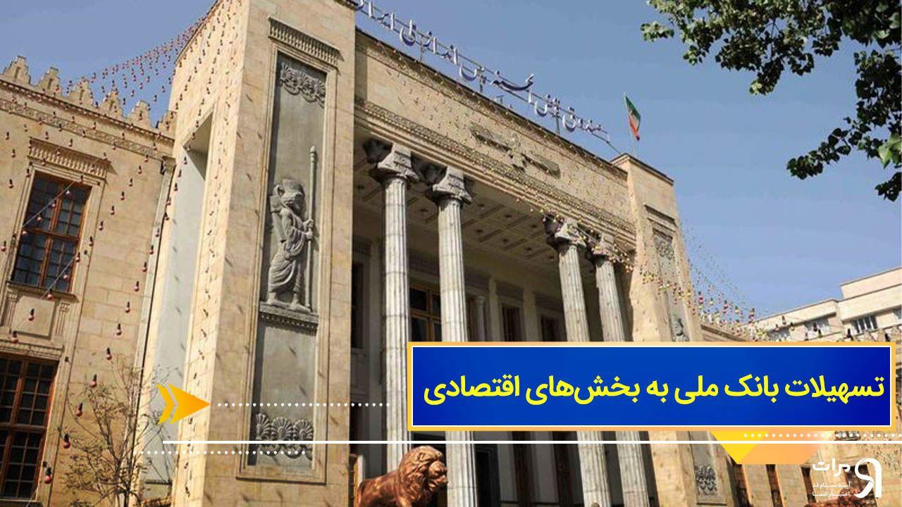 تسهیلات بانک ملی به بخشهای اقتصادی